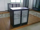 Refrigerador de vidro dobro de venda quente da bebida do refrigerador da barra da parte traseira de porta