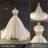 ウェディングドレスの花嫁の夜会服に玉を付ける2018年のデザイナーシャンペンによって着色される花嫁衣装の方法高品質