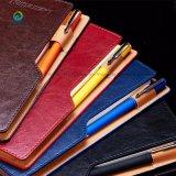 カスタム型PUの革ノートの黒日記ジャーナルペンが付いているレトロのノート