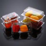 حللت [بّ] واضحة بلاستيكيّة طعام يعبر وعاء صندوق ثمرات بمقادير قليلة يعلّبون