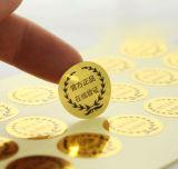 Contrassegno adesivo dorato dell'autoadesivo di stampa su ordinazione