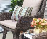 Cadeira do Rattan do PE ao ar livre cinzento moderno da mesa de centro e do lazer do balcão do pátio do jardim