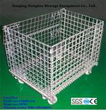 Envase de almacenaje plegable del acoplamiento de alambre de metal con los echadores