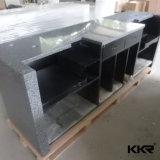 黒い人工的な石造りの現代オフィス・コンピュータの机(R170823)