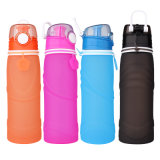 Botella de agua plegable portable hermética comprensible de los deportes al aire libre