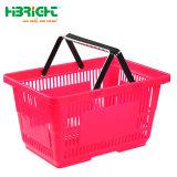 Großhandelslebensmittelgeschäft-Supermarkt-doppelter Plastikgriff-roter Einkaufskorb