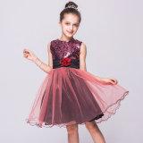 Платье сборок Tulle венчания партии мантии шарика цветка сетки Sequin маленьких девочек