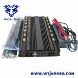 Jammer de controle remoto poderoso do VHF GPS Lojack da freqüência ultraelevada da G/M 3G 4glte 4gwimax WiFi 16 das antenas ajustáveis