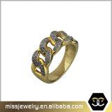 золото 18K заморозило вне кольцо Mens CZ Hip хмеля микро- вымощенное
