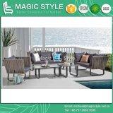 Sofá de vime ao ar livre com do sofá ajustado moderno do jardim 2-Seat do sofá do Rattan do coxim a mesa de centro de tecelagem de vime do sofá do pátio do lazer do sofá 3-Seat para o café