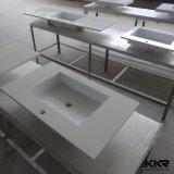 Prefab Espelho branco casa de banho de pedra de quartzo em mármore vaidade topo