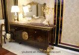 Italienischer festes Holz-antiker hoher Glanz-Luxuxfarbanstrich und Teile deckten Goldfolien-Buffet mit Spiegel ab
