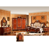 كلاسيكيّة غرفة نوم مجموعة مع أثر قديم سرير وخزانة ثوب ([و815ا])