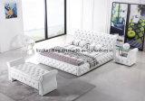 アメリカの現代ホテルの家具のチェスターフィールドのKing-Size革ベッド