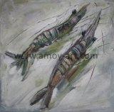 台所部屋またはレストランのためのハンドメイドの二重エビの油絵
