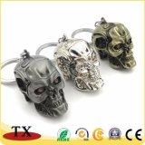 Résistance de terminaison personnalisés clé en métal avec la chaîne de forme du crâne porte-clés