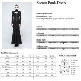 Vestido Maxi longo magro do colar elevado à moda da bruxa de Q-330 Steampunk