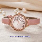 Custom Mesdames montres à quartz de cuir wist, femme de regarder en alliage (WY-17049)