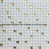 Weißes Knistern-Glasmischungs-Golddiamant-Mosaik-Fliese für Esszimmer