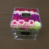 Rectángulo de acrílico claro de lujo cuadrado de la flor de Rose del regalo del fabricante con la tapa