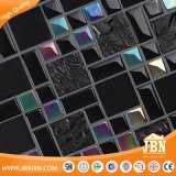 めっきする黒いカラー壁のタイルによって網取付けられるガラスモザイク(M855005)を