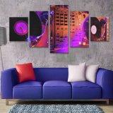 De Club van de Nacht van DJ van Affiche van het Af:drukken van het Canvas van de Productie van de Staaf van de Muurschildering de In het groot Moderne de Disco van de Muziek van de Kunst van het Canvas van 5 Stuk de Muur van de Staaf