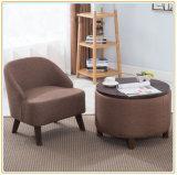 Sofá de madera vendedor caliente del hogar del sofá de la tela de lino gris