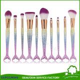 i capelli sintetici cosmetici di colore del Rainbow 10PCS compongono la spazzola della coda dei pesci delle spazzole di trucco della sirena delle spazzole