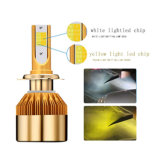 Good Quality 38W 4800lm IP68 9V-32V Yellow and White with Fans Dual CS Color LED Headlight H7