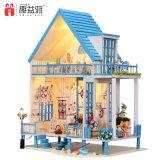 Bricolaje de madera hechos a mano casa en miniatura con juguetes educativos para niños