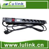 Regleta de alimentación industrial de montaje en Rack PDU de Gabinete de la red