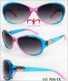 Occhiali da sole di plastica con la decorazione del metallo per le signore (WSP707933)