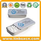 Caja de embalaje de caramelos de menta diapositiva rectangular con tapa deslizante de estaño