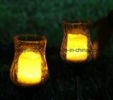 パチパチ鳴る音のガラスGlickeringの蝋燭LEDの太陽庭ライト太陽庭の棒の蝋燭ライト