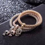 Bijou Shaped de bracelet de bracelet de crâne multicouche de diamant de Zircon de mode