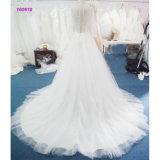 Blusa del cordón una línea alineada de boda con las fundas largas del cordón transparente