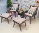 Silla de la rota del jardín del patio del balcón del PE al aire libre gris moderno de la mesa de centro y del ocio