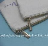 Bolso Zippered lona en blanco llana del cosmético de la bolsa del algodón