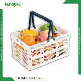 Caisse plastique pliable Shopping de pliage de stockage des paniers de légumes avec des poignées