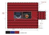 [1000د] ثقيلة - واجب رسم [بفك] يكسى أحمر مسطّحة زيت خشب منشور فينيل [ترب] مع 6 ' قطرة رفرفة و [د-رينغس] صامد للصدإ