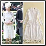 Form-Frauen-Kleidung-Herbst-weiße Spitze-Standplatz-Muffen-elegantes Partei-Abend-Kleid