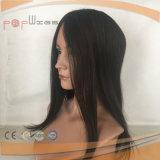 Haut de la soie Handtied complet noir naturel perruque Toupee (PPG-L-0298)