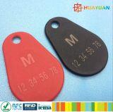 Bene durevole sottile MIFARE 1K classico Overmolded RFID Keyfob di marchio del laser