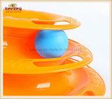 Haustier-Zubehör/Drei-Schicht Schwenktisch-Spur-Katze-Spielzeug mit Plastikkugel (KB3025)