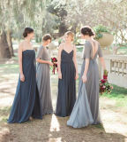 Blue Silver Chiffon Bridesmaid Dress un imperio de la línea de boda vestido de noche Z207