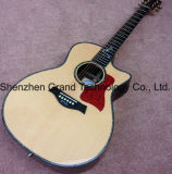Haut de l'épinette solide incrustations d'ormeaux Vue en coupe de la guitare acoustique