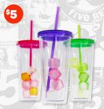 Tumbler/Cup di plastica con Drink Straw