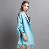 Las mujeres de moda cashmere tejidos de invierno con flecos chal abrigo (yky2022)