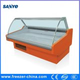 Ventilador Cooling Fixed Curved Glass Door in The Front Deli Display Refrigerador para Butcher Shop / Supermarket