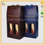 Bolsa de papel de encargo del vino, papel de empaquetado